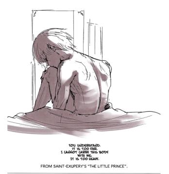 Dessin de Sui Ishida avec une citation du Petit Prince